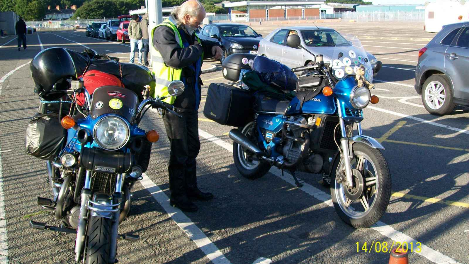 Waiting for the ferry at Harwich with Travelling Man.